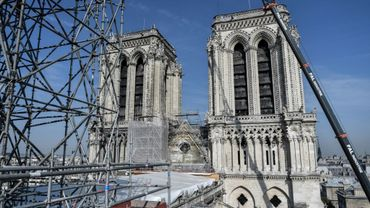 Des échaffaudages sur la façade de Notre-Dame de Paris, le 17 juillet 2019