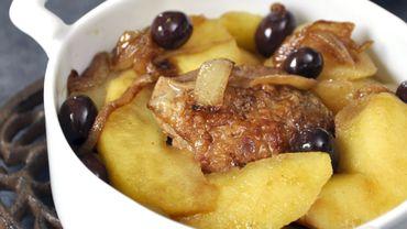 Pintade aux pommes reinettes et aux olives