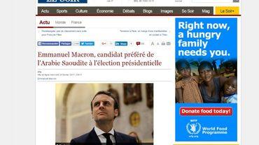 Le journal Le Soir victime d'un site publiant de fausses informations sur Macron