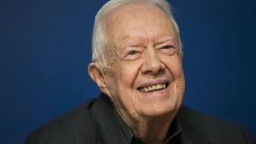 L'ex-président américain Jimmy Carter à New York le 26 mars 2018