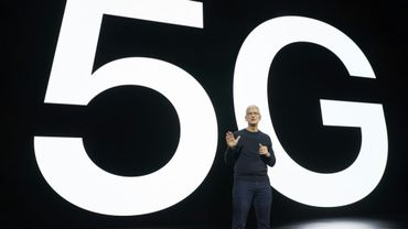 Tim Cook, le patron d'Apple, annonce la très attendue arrivée de la 5G dans les smartphones de la marque, le 13 octobre 2020