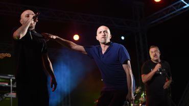 De gauche à droite, les chanteurs Mouss, Hakim et Majid du groupe Zebda