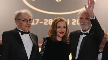 Jean-Louis Trintignant, Isabelle Huppert et Michael Haneke à Cannes en mai 2017