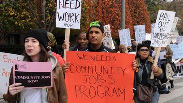 Manifestation d'Américains qui demandent un emploi