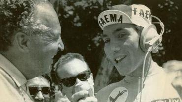 Eddy Merckx interrogé sur le Tour de France 1969 par la vedette de la RTBF-Radio de l'époque, Luc Varenne.