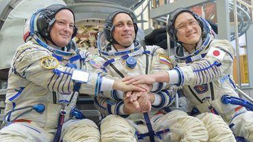 L'astronaute Norishige Kanai (à droite) et ses collègues Mark Vande Hei et Alexander Misurkin, le 6 juillet 2017 en Russie