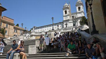 L'escalier donnant sur la place d'Espagne, l'un des sites touristiques les plus célèbres de la capitale italienne, avait été rouvert au public en septembre 2016, après un an de travaux.