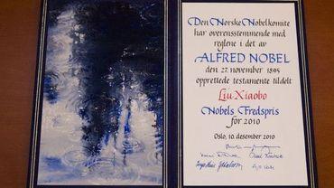 Le diplôme du prix Nobel de la Paix 2010, le Chinois Liu Xiaobo