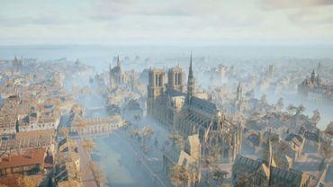 Capture d'écran du jeu Assassin's Creed Unity, se déroulant à Paris lors de la révolution française.