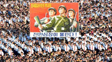 Manifestation de masse à Pyongyang en soutien à la politique nord-coréenne face aux Etats-Unis, le 9 août 2017