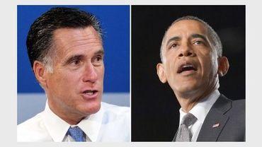 Photomontage daté du 24 juillet 2012 du républicain Mitt Romney (g) et du président démocrate américain Barack Obama