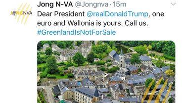 Les jeunes N-VA propose de vendre la Wallonie à Trump pour 1€