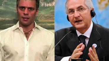 Un montage photo des deux leaders de l'opposition vénézuélienne, Leopoldo Lopez (G) et Antonio Ledezma