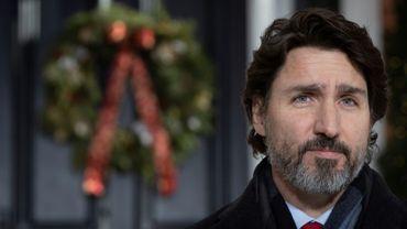 Le Premier ministre canadien Justin Trudeau, lors d'un point presse à Ottawa, le 18 décembre 2020