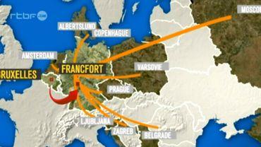 Les 15 lignes qui concernent la Belgique relient notre pays à d'autres pays européens.