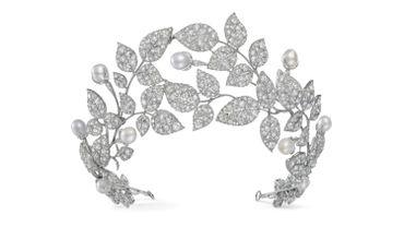 Diadème aux boutons d'églantine - Joseph Chaumet, vers 1922 - Platine, diamants, perles - Collection privée