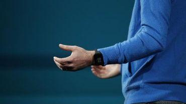 Une montre Android Wear de Google portée lors de la conférence Google I/O, à San Francisco, le 25 juin 2014