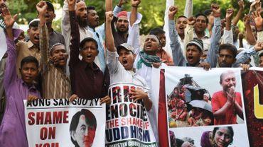Une manifestation, à Karachi, pour protester du traitement réservé par le gouvernement birman aux Rohingya, le 8 septembre 2017.