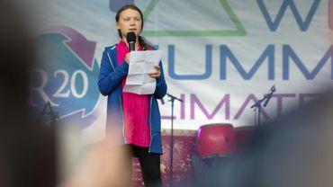 La militante suédoise pour le climat Greta Thunberg, 16 ans, intervenant devant 1.200 décideurs et chercheurs lors d'une conférence sur le climat à Vienne, le 28 mai 2019. Amnesty international lui a attribé pour son action son prix le plus prestigieux