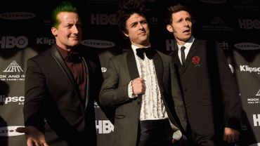 Tre Cool, Billie Joe Armstrong et Mike Dirnt du groupe Green Day arrivent au 30th Annual Rock And Roll Hall Of Fame Induction Ceremony