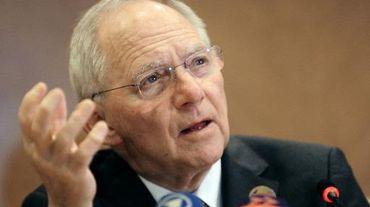 Le ministre allemand des finances Wolfang Schäuble lors d'une conférence de presse à Istanbul le 10 février 2015