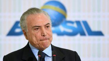 Le président brésilien Michel Temer à Brasilia le 28 août 2017