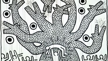 Keith Haring Untitled, 1982 Collection Keith Haring Foundation Encre sumi sur papier 274,32 x 518,16 cm