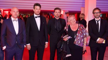 """L'équipe de """"D'Ardennen"""" lors de la remise des prix """"Ensors"""" du cinéma flamand à Ostende."""