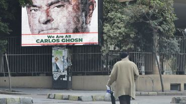 Un portrait de Carlos Ghosn sur une affiche à Berouth le 6 décembre 2018