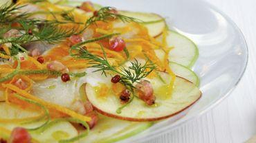 Carpaccio de pommes et haddock aux agrumes