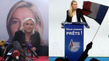 Marine Le Pen à gauche et Marion Maréchal Le Pen à droite, en route pour remporter les élections régionales dans le Nord Pas de Calais et Provence-Alpes-Côte d'Azur, des mots différents mais une même réaction contre les droits des femmes