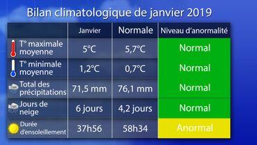 bilan climatologique de janvier 2019