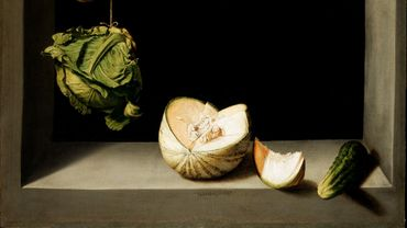←→ •••••• Juan Sánchez Cotán, Quince, Cabbage, Melon and Cucumber Ca. 1602 San Diego, gift of Anne R. and Amy Putnam