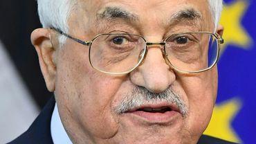Le président palestinien Mahmoud Abbas, à Bruxelles le 27 mars 2017