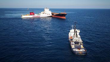 Vue aérienne des deux navires entrés en collision au large du cap Corse, le 11 octobre 2018.