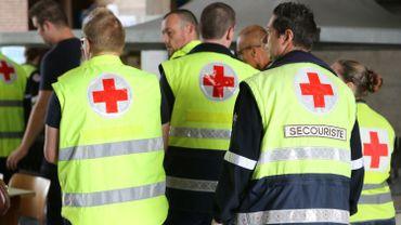 Des secouristes de la Croix Rouge lors d'un exercice