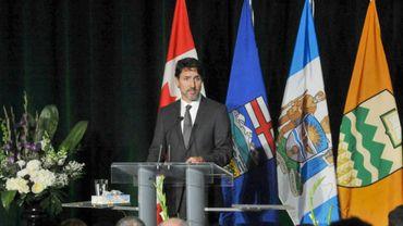 Le Premier ministre canadien Justin Trudeau lors d'une cérémonie en mémoire des victimes canadiennes du crash en Iran d'un avion ukrainien, le 12 janvier 2020 à Edmonton, au Canada