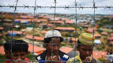 Des réfugiés rohingyas au camp de Kutupalong, le 25 août 2018 au Bangladesh