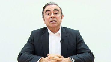 Capture d'écran diffusée le 9 avril 2019 de Carlos Ghosn s'exprimant dans une vidéo enregistrée depuis Tokyo pour clamer son innocence