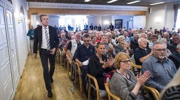 Le président du Parti populaire danois (DF), Kristian Thulesen Dahl, lors d'un meeting à Toender, dans le sud du Danemark, le 9 juin 2015