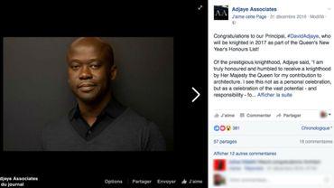 L'architecte David Adjaye sera anobli par la reine d'Angleterre