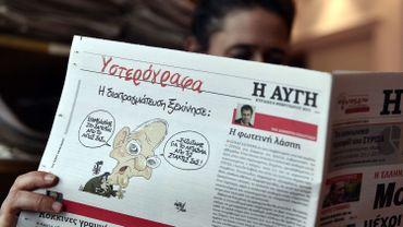 """Le quotidien grec """"Avgi"""" publiait le 13 février dernier une caricature montrant le ministre allemand des Finances Wolfgang Schaüble en uniforme de la Wehrmacht."""