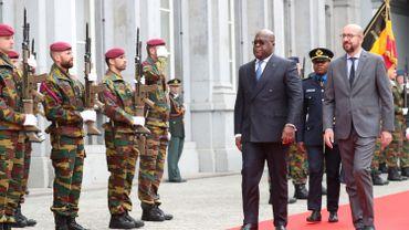 Le Premier ministre Charles Michel reçoit le président congolais Félix Tshisekedi dans la cour d'honneur du palais d'Egmont.
