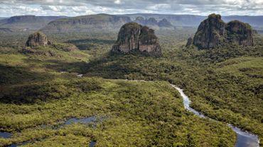 Aerial view of the Serrania de Chiribiquete, located in the Amazonian jungle departments of Caqueta and Guaviare, Colombia