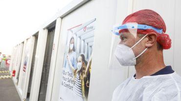 Personnel médical dans le centre covid de l'aéroport de Zaventem, le 14 septembre 2020