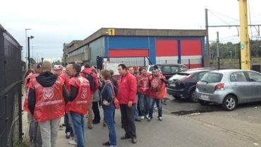 Mobilisation pour les grévistes de BM&S devant le siège de la SNCB à Bruxelles