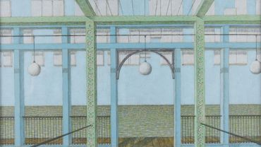 BERNARD GHOBERT (Bruxelles 1914 – 1975) - La terrasse abandonnée, 1965 Crayons de couleur sur papier bristol, 40 x 50 cm