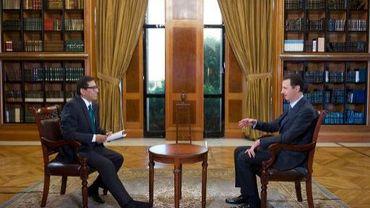 Photo transmise par l'agence Sana montrant le président syrien Bachar al-Assad le 25 septembre 2013 lors d'une interview avec la chaînevénézuélienne Telesur