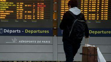 Un passager regarde un tableau d'affichage des vols à l'aéroport Roissy Charles-de-Gaulle, près de Paris lors d'une grève le 26 janvier 2016
