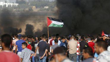 Des manifestants palestiniens à la frontière Gaza-Israël